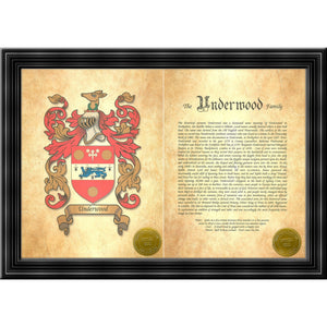 "Executive Family Name History and Coat of Arms (2 pages) size 17"" X 11"" (cm 43x28)"