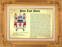 Load image into Gallery viewer, Origin of your Last Name - Heraldic Document