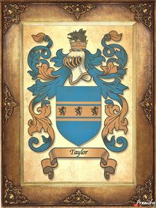 Father's Day Best Gift - Origin of the Last Name - Heraldic Document