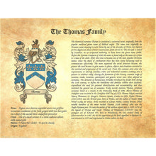 Load image into Gallery viewer, Family Name History and Coat of Arms - Heraldic Document
