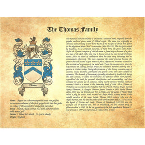 Family Name History and Coat of Arms - Heraldic Document