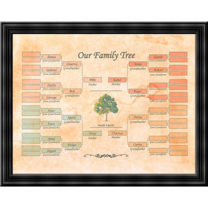 "Family Tree template - Realized on ""Aged-Look"" parchment paper"