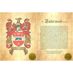 "Executive Family Name History and full color Coat of Arms (2 pages) size 17"" X 11"" (cm 43x28)"