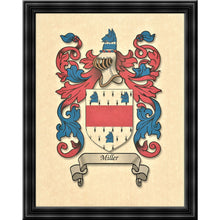 "Load image into Gallery viewer, Authentic Family Coat of Arms full color - Size:  11"" x 8.5""   CM 21.5 x 28"