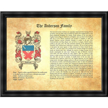 "Load image into Gallery viewer, Executive Family Name History and Coat of Arms (2 pages) size 17"" X 11"" (cm 43x28)"