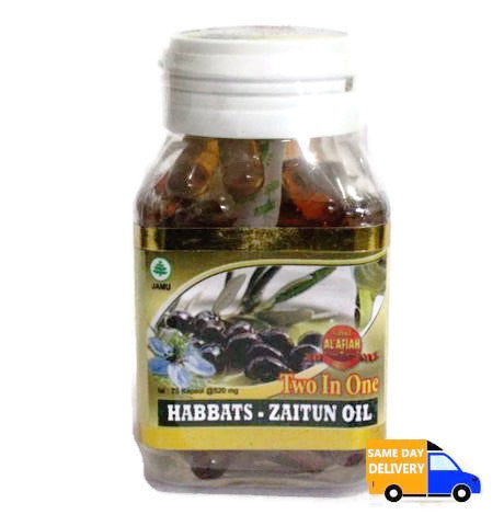 Two in One habbats zaitun oil al afian 75 kapsul