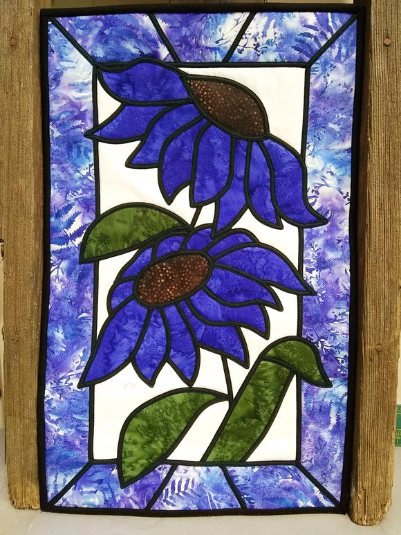 Wild Cone Flowers Stained Glass Wall Hanging