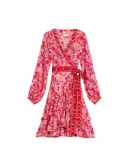 By Timo Kjoler Delicate Semi Ribbon Wrap Dress Plum Blossom Rosa Sapatos