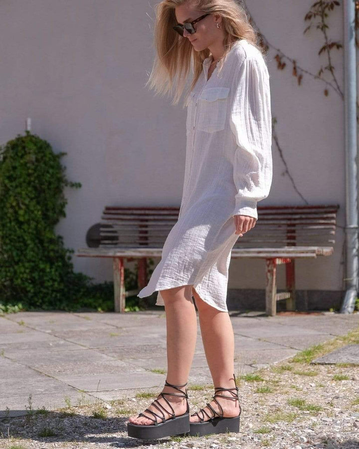 Kendell Gauze Shirt Dress Offwhite