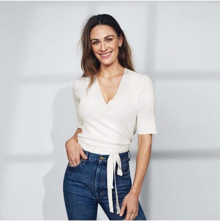 Jenny Skavlan Cotton Wrap Top Offwhite