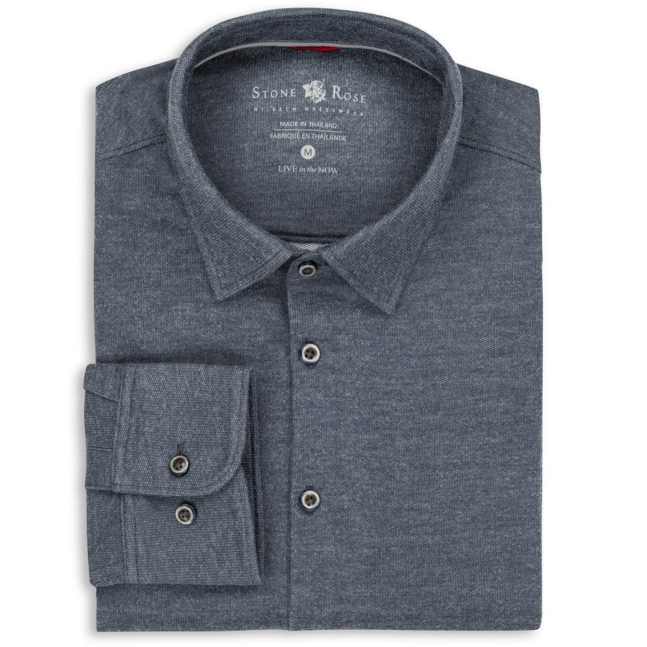 Brushed Heather Knit Performance Long Sleeve Shirt