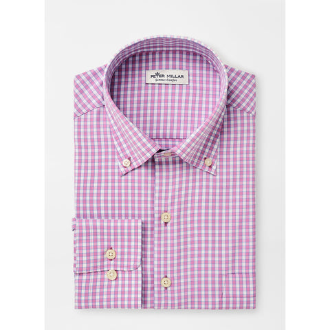 Trim Fit Plaid Performance Dress Shirt
