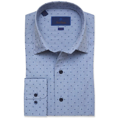 Trim Fit Textured Twill Box Dress Shirt