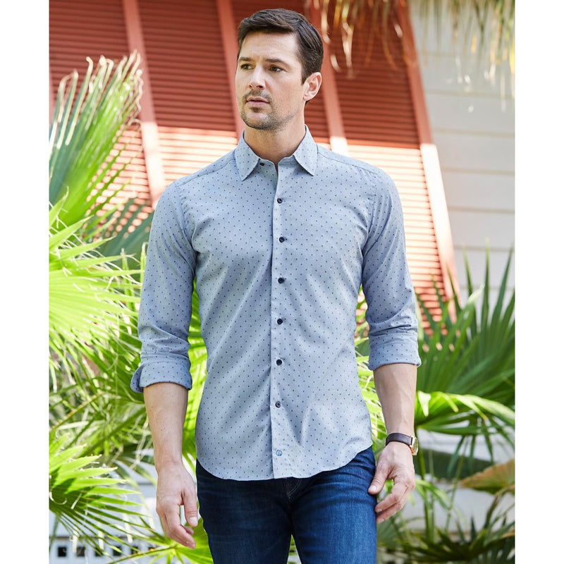 Trim Fit Micro Diamond Print Fusion Shirt