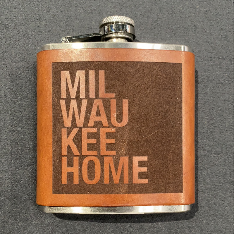 MKE Home Leather Milwaukee Home Flask