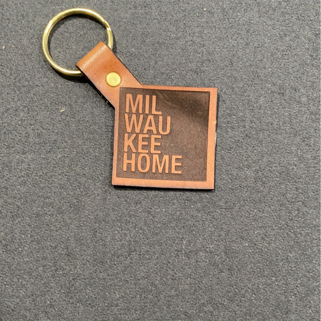 MKE Home Leather Square Keychain