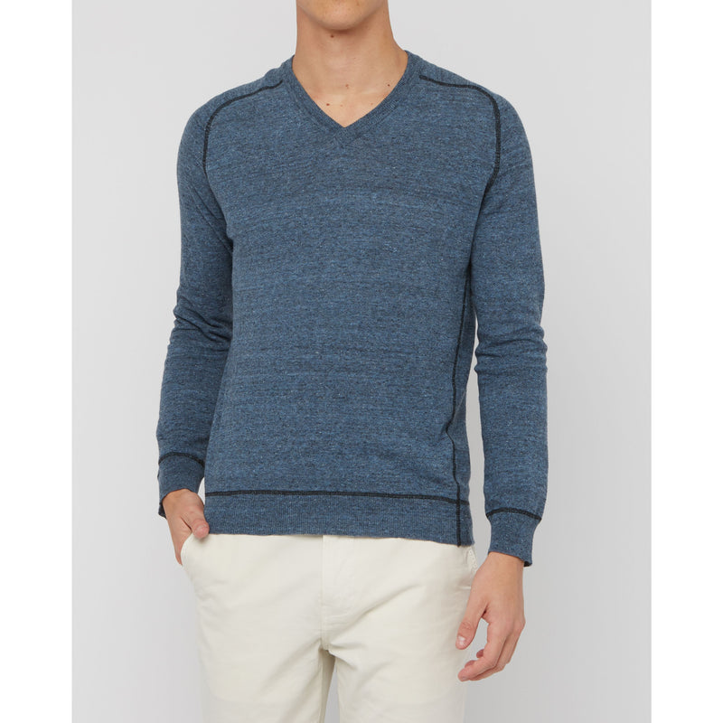 Contrast Stitch V-Neck