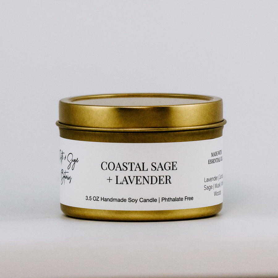 Coastal Sage + Lavender Gold Travel Tin Candle
