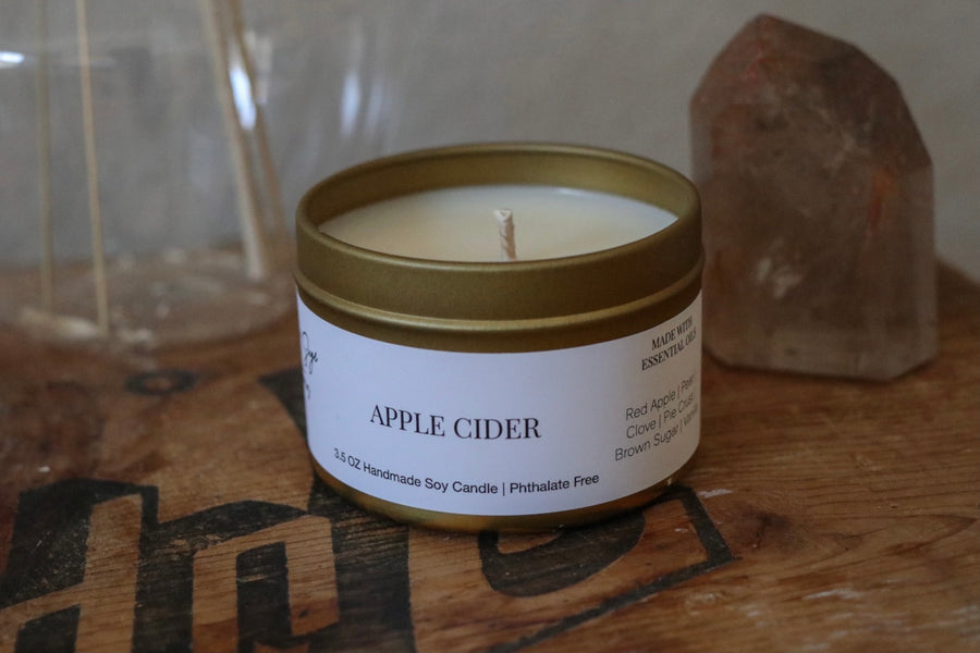 Apple Cider Gold Travel Tin Candle