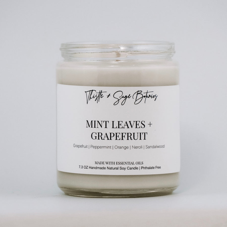 Mint Leaves + Grapefruit Vegan Soy Candle