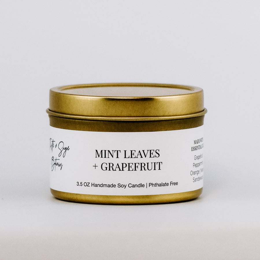Mint Leaves + Grapefruit Gold Travel Tin Candle