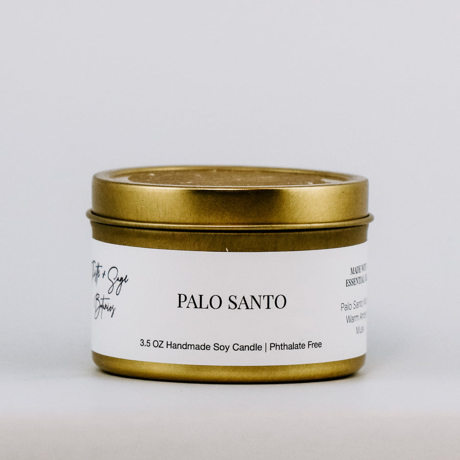 Palo Santo Gold Travel Tin Candle