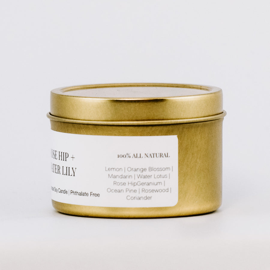 Rose Hip + Water Lily Gold Travel Tin Candle