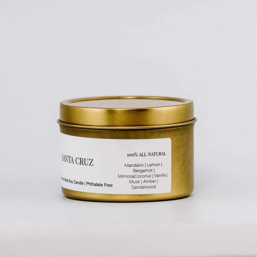 Santa Cruz Gold Travel Tin Candle