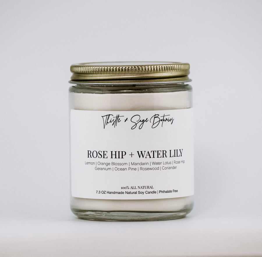 Rose Hip + Water Lily Vegan Soy Candle