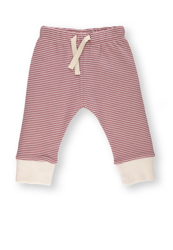 Fave Pants ~ Rose Brown Striped with Marshmallow Cuff