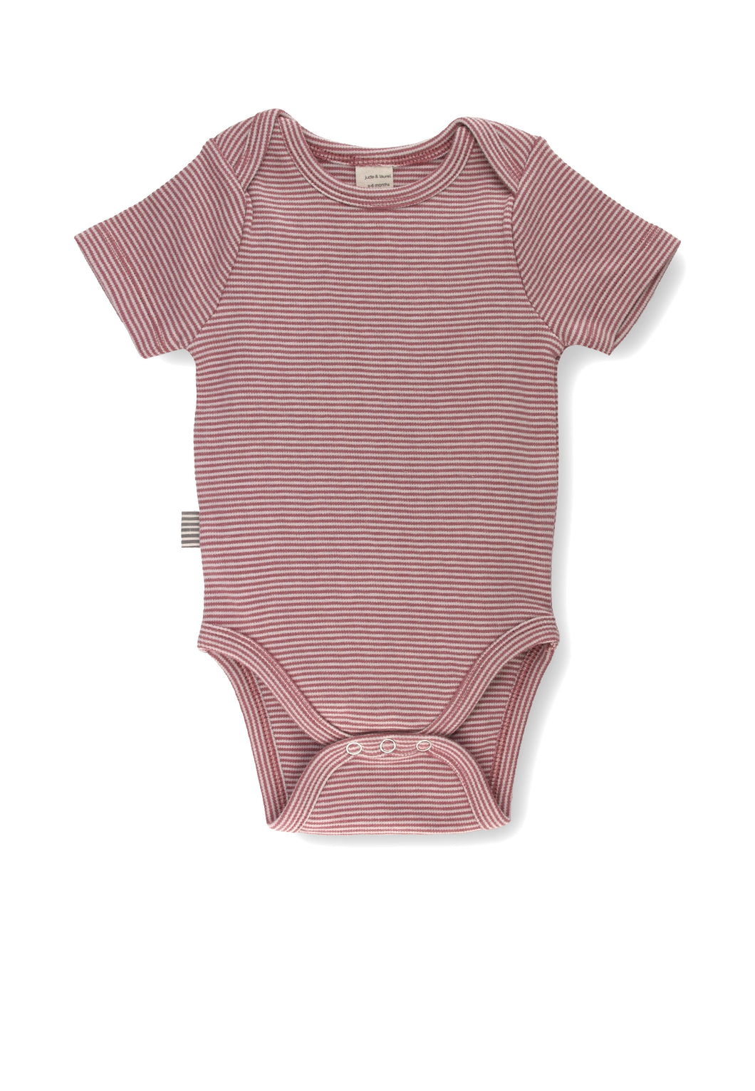 Fave Short Sleeve Onesie ~ Natural Rose Brown Stripe