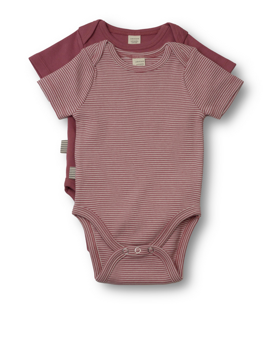 Fave Short Sleeve Onesie Gift Set ~ Rose Brown and Natural Rose Brown Stripe