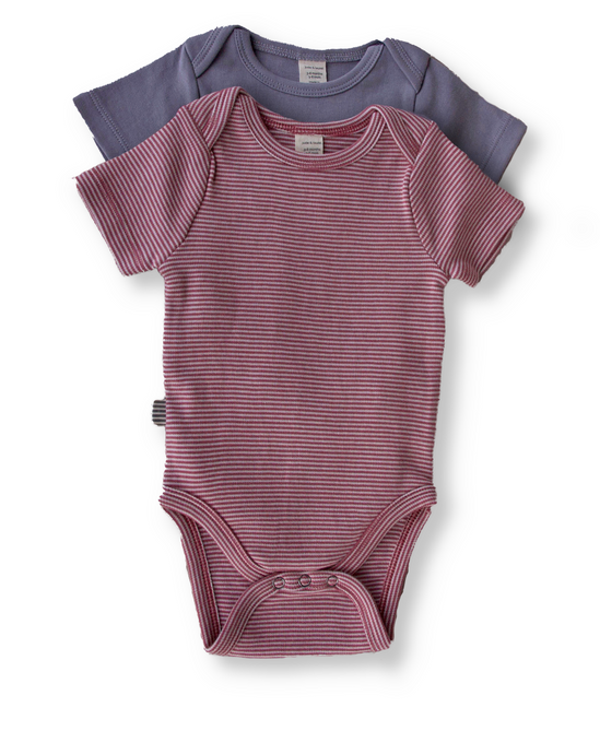 Fave Short Sleeve Onesie Gift Set ~ Natural Rose Brown and Sleet