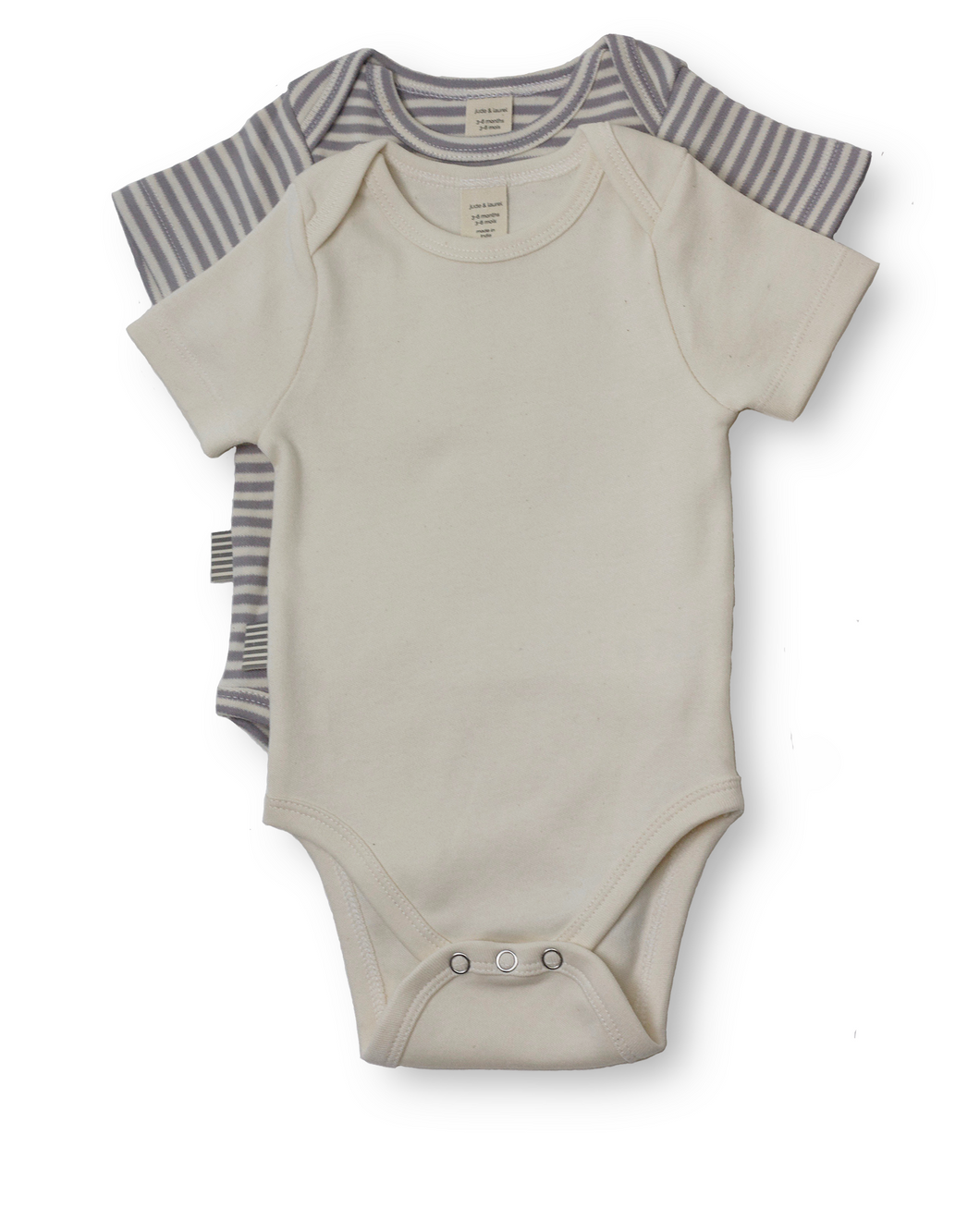 Fave Short Sleeve Onesie Gift Sets ~ Natural Sleet Stripe and Natural