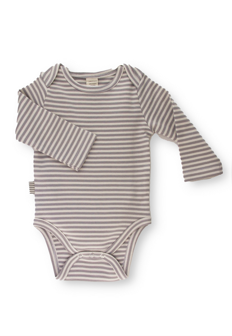 Fave Long Sleeve Onesie ~ Natural Sleet Striped
