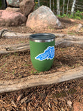 "Lake Superior 3"" sticker on camp cup by Lakes Supply Co."