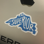 "Lake Superior 3"" Sticker on Laptop by Lakes Supply Co."