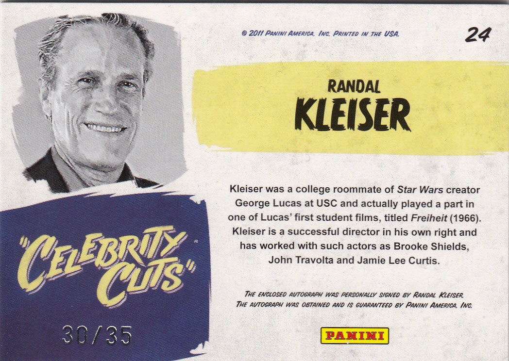 2011 Americana Celebrity Cut Autographs #24 - Randal Kleiser - Grease #/35 | Eastridge Sports Cards