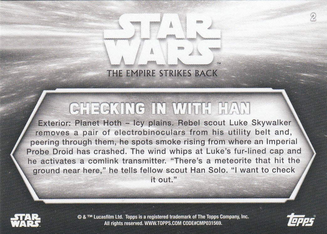 2019 Star Wars Empire Strikes Back Black and White - Blue Hue Shift #2 - Checking in with Han | Eastridge Sports Cards