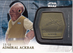 2016 Star Wars The Force Awakens Series Two Medallions Gold #35 Admiral Ackbar #/50 | Eastridge Sports Cards