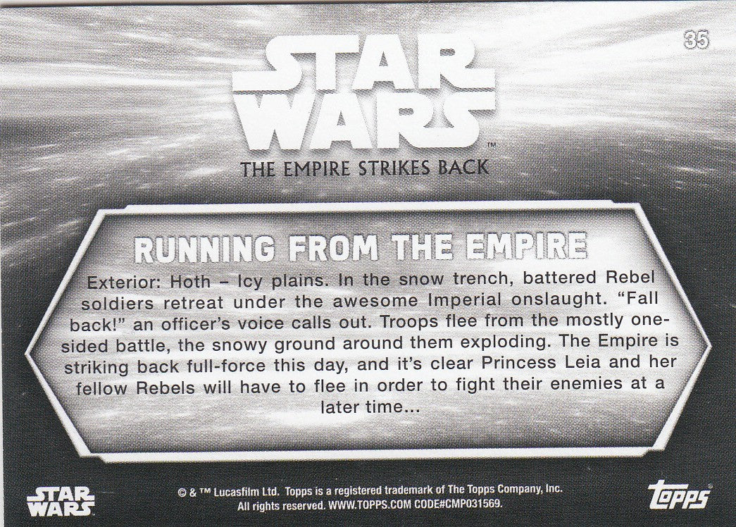 2019 Star Wars Empire Strikes Back Black and White - Sepia #35 - Running from the Empire | Eastridge Sports Cards