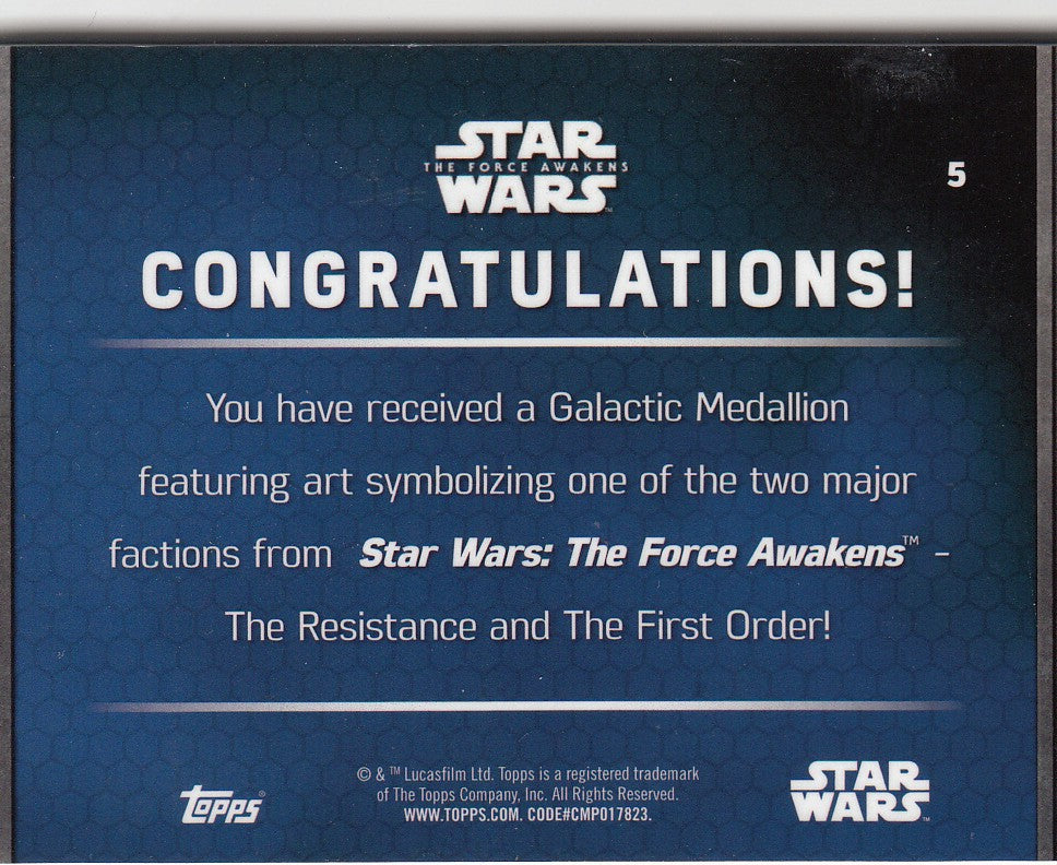 2016 Star Wars The Force Awakens Series Two Medallions #5 Poe Dameron | Eastridge Sports Cards