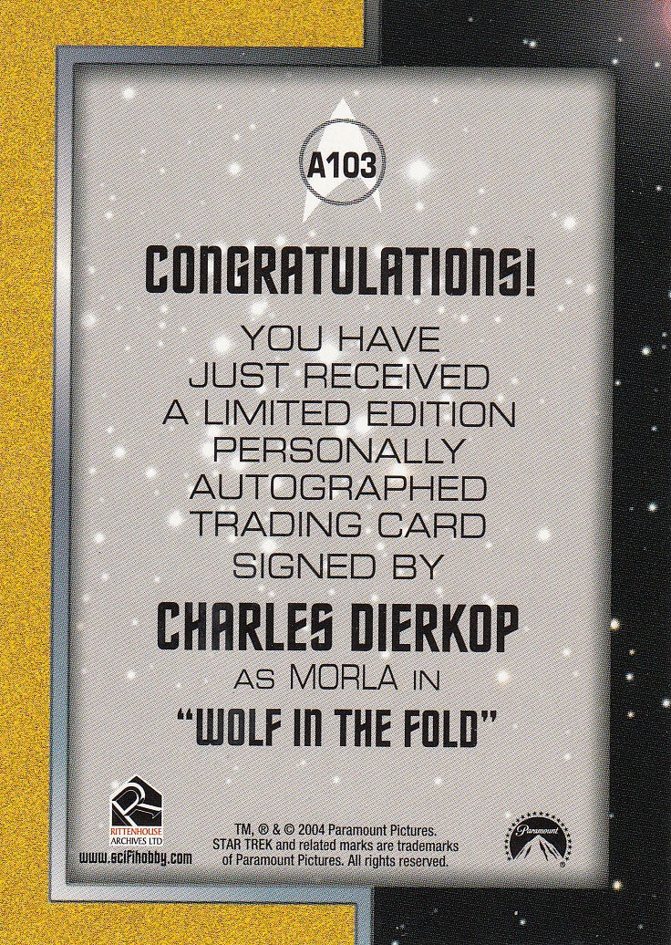 2004 Quotable Star Trek Original Series Autographs #A103 - Charles Dierkop as Morla | Eastridge Sports Cards