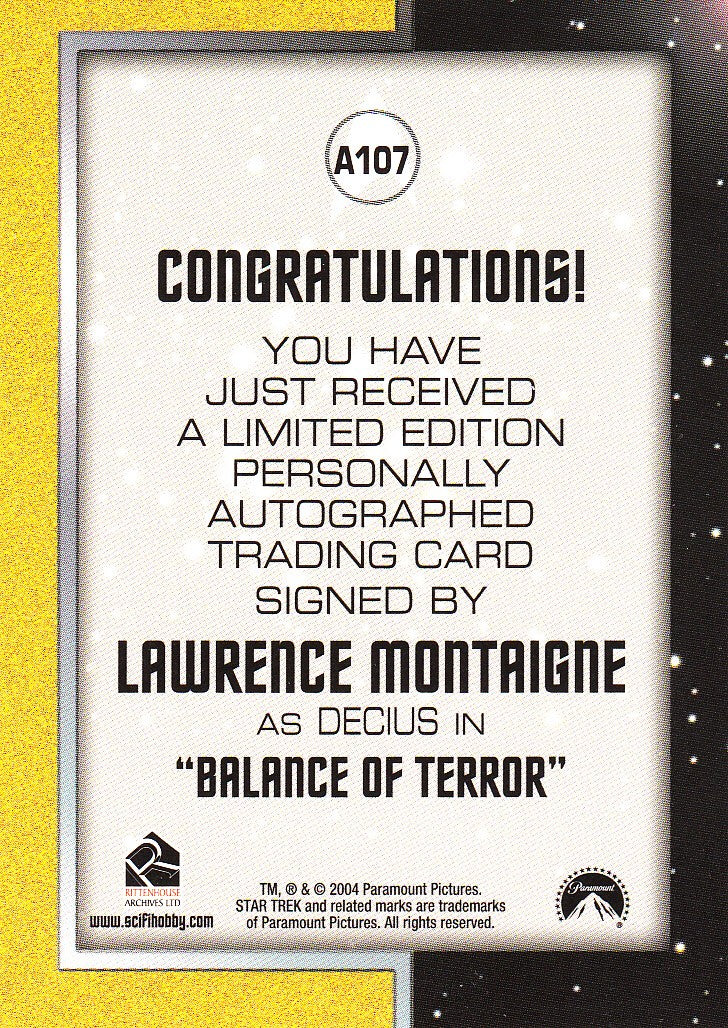 2006 Star Trek The Original Series 40th Anniversary Autographs #A107 - Lawrence Montaigne as Decius | Eastridge Sports Cards