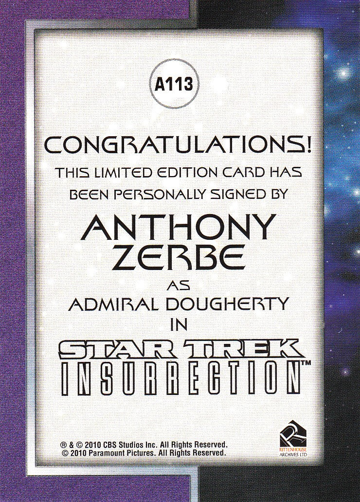 2011 Star Trek Movies Heroes and Villains Autographs #A113 - Anthony Zerbe as Admiral Dougherty - VERY LIMITED | Eastridge Sports Cards