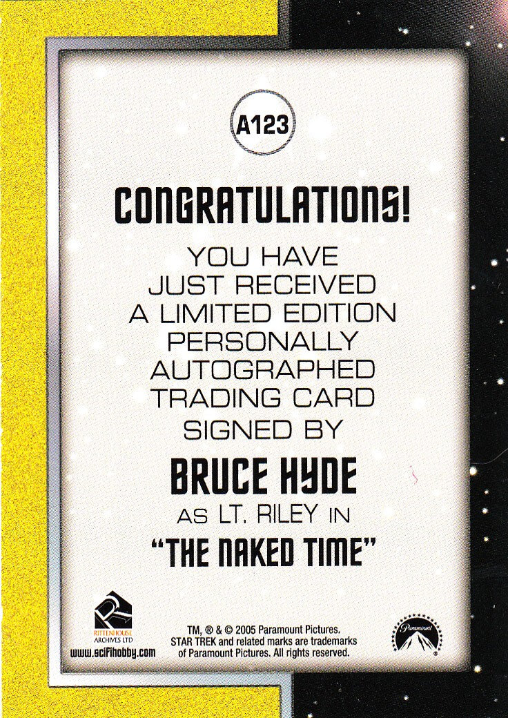 2006 Star Trek The Original Series 40th Anniversary Autographs #A123 - Bruce Hyde as Lt. Riley | Eastridge Sports Cards