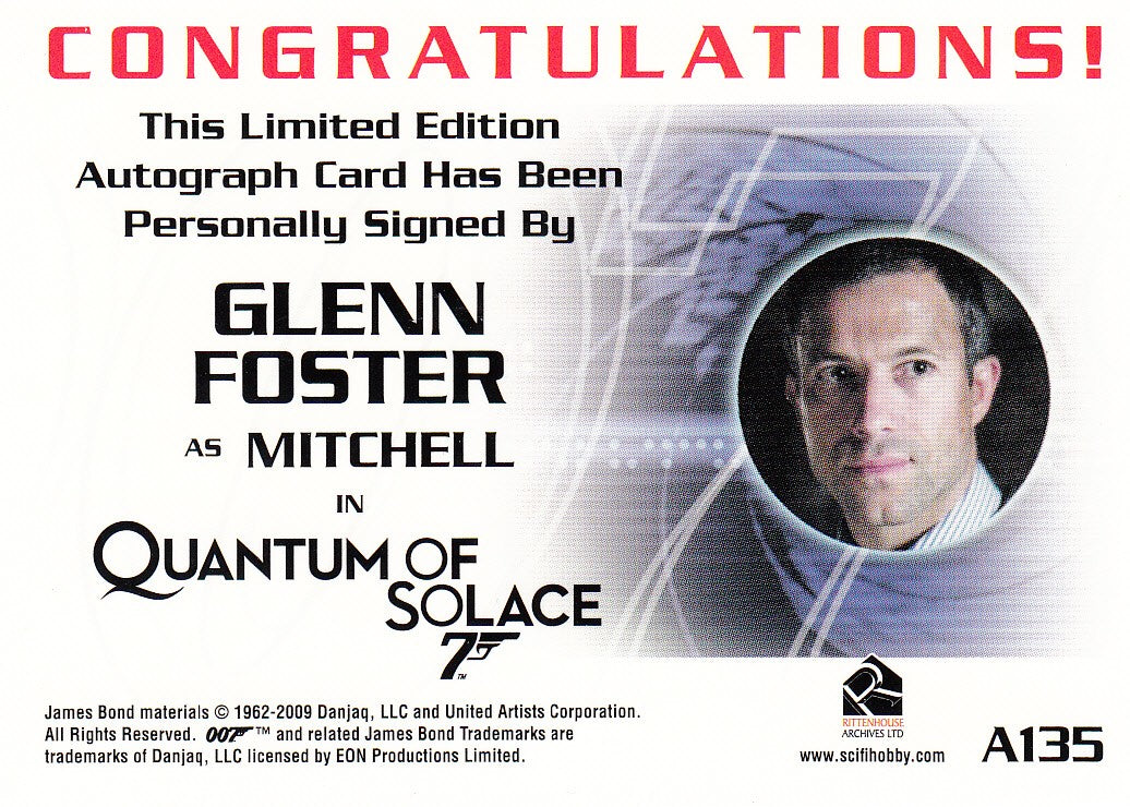 2010 James Bond Heroes and Villains Autographs #A135 - Glenn Foster LIMITED | Eastridge Sports Cards