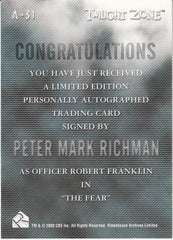 2000 Twilight Zone The Next Dimension Autographs #A31 - Peter Mark Richman | Eastridge Sports Cards