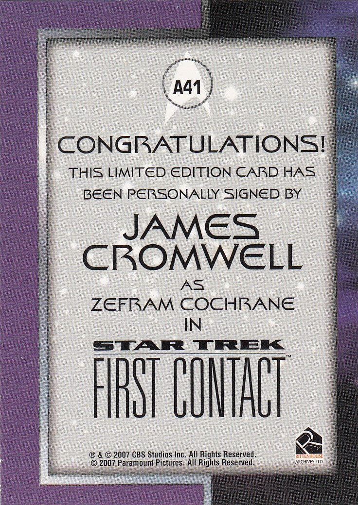 2008 Star Trek Movies In Motion Autographs #A41 - James Cromwell as Zefram Cochrane - LIMITED | Eastridge Sports Cards