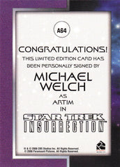 2008 Star Trek Movies In Motion Autographs #A64 - Michael Welch as Artim | Eastridge Sports Cards